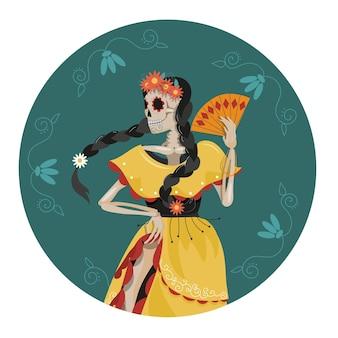 Das skelett einer mexikanischen tänzerin in nationaltracht.