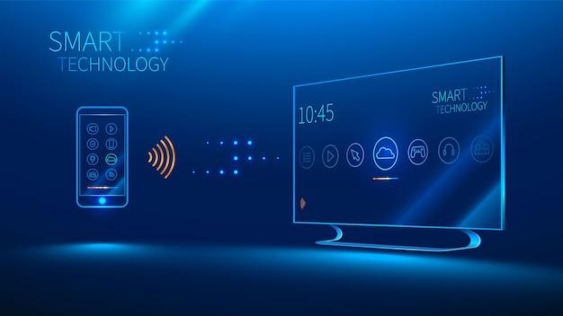 Das smart-tv wird von einem smartphone gesteuert, das informationen überträgt
