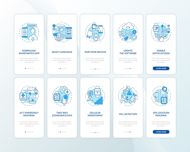 Das smart watch-setup empfiehlt, den bildschirm der mobilen app-seite mit festgelegten konzepten zu integrieren