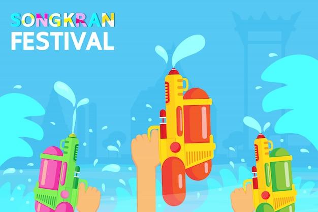Das songkran festival ist ein langer urlaub in thailand.
