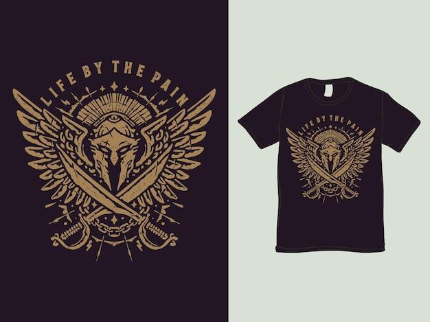 Das spartanische krieger-vintage-t-shirt-design