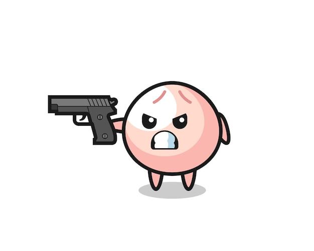 Das süße fleischbrötchen-charakter-shooting mit einer waffe, süßes stildesign für t-shirt, aufkleber, logo-element