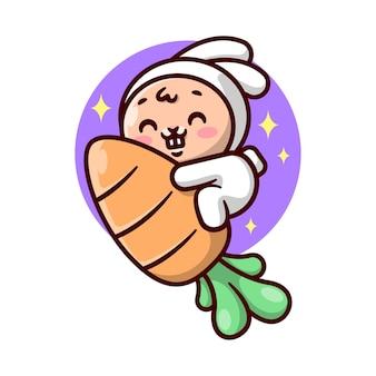 Das süße kleine häschen im astronautenanzug reitet auf einer großen karotte und fliegt zum weltraum-cartoon-maskottchen und -charakter