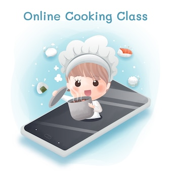 Das süße mädchen lernt aufgrund des covid-19-ausbruchs online zu kochen.