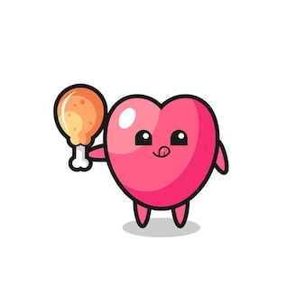 Das süße maskottchen des herzsymbols isst ein gebratenes huhn, süßes design für t-shirt, aufkleber, logo-element