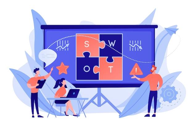 Das swot-analyseteam arbeitet an der liste ihrer chancen, der strategie und der überwachung. swot-analyse und matrix, strategisches planungskonzept