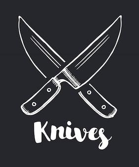 Das symbol für gekreuzte messer. messer und koch, küchensymbol. flache illustration