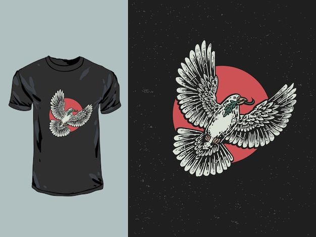 Das taubenvogelsymbol des friedens und der freiheit mit hand gezeichneter illustration