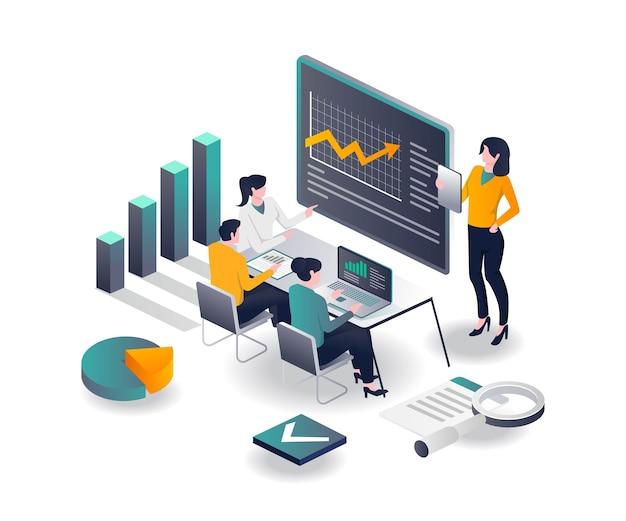 Das team lernt, das investmentgeschäft zu entwickeln