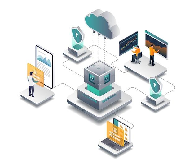 Das team verwaltet den cloud-server und den datensicherheitsanalysten