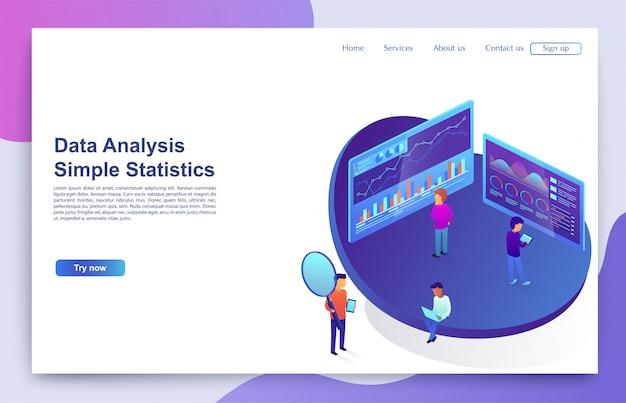 Das team von personen interagiert mit grafiken und diagrammen, um statistiken zu analysieren. konzept der visuellen daten, digitales marketing.
