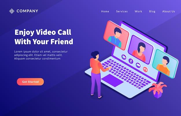 Das teamkonzept der videoanrufgruppe verwendet das laptop-konzept für die website-vorlage oder die landing-homepage