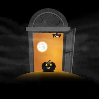 Das tor von halloween-tageskürbisraum für textvektor