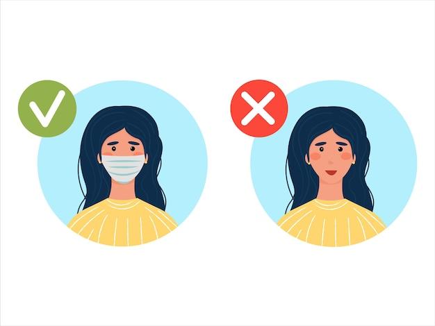 Das tragen einer maske ist obligatorisch. es ist keine maske erlaubt. brünette mit und ohne medizinische maske. vektorillustration im flachen stil