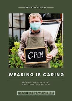 Das tragen ist ein fürsorglicher vorlagenvektor, der bei der covid19-pandemie eine maske trägt