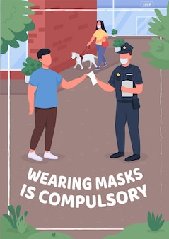 Das tragen von masken ist eine obligatorische flache vorlage für poster
