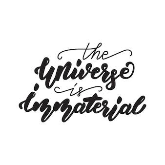 Das universum ist eine unwesentliche zitatbeschriftung