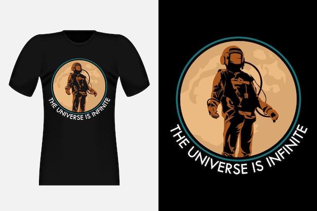 Das universum ist unendlich mit astronaut vintage t-shirt design