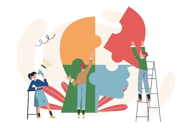 Das unternehmen beschäftigt sich mit der gemeinsamen suche nach ideen, abstraktem kopf, ideen des denkens und analytik