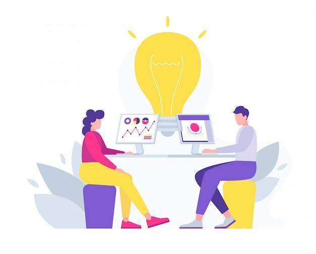 Das unternehmen entwickelt ein ideenkonzept für das startup