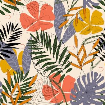 Das ursprüngliche muster mit tropischen blättern und pflanzen