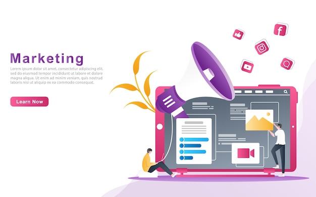 Das verkaufsteam macht marketingankündigungen über soziale medien