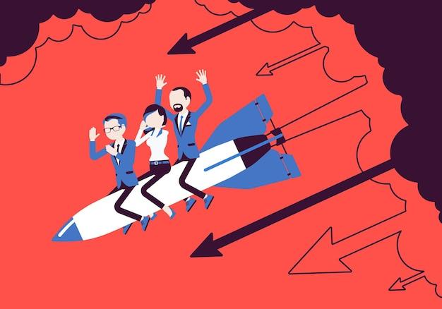 Das verzweifelte geschäftsteam geht mit einer rakete unter. unternehmensgründung, unternehmensneuprojekt scheitert, finanzielle fehler. problemlösung, risikomanagementkonzept. vektorillustration, gesichtslose charaktere