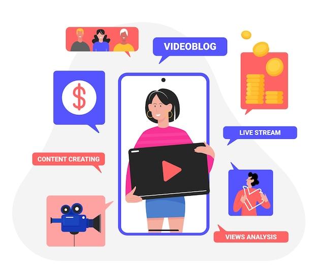 Das videoblog-vlog-konzept mit streamer-frauencharakter präsentiert kreative videoinhalte
