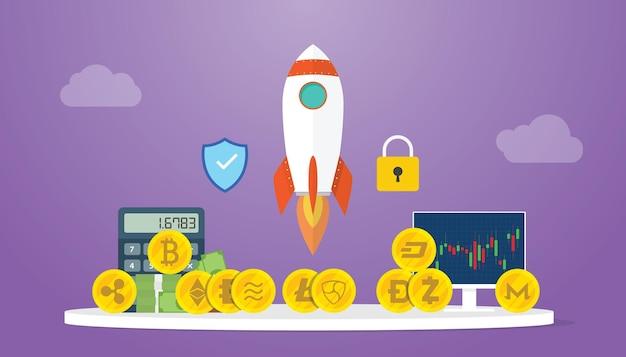 Das wachstum der kryptowährung wird mit raketen- und diagrammdiagrammen mit moderner wohnung erweitert