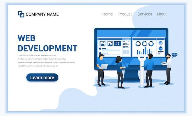 Das webentwicklungskonzept mit menschen programmiert und codiert auf einer großen leinwand.