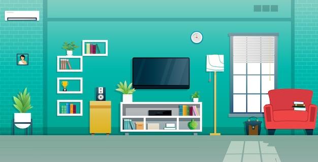 Das wohnzimmer ist mit einem fernseher am fenster eingerichtet