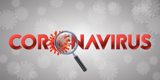 Das wort coronavirus mit covid-19-symbol und virushintergrund mit krankheitszellen