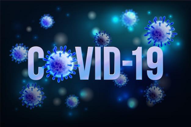 Das wort covid-19 mit coronavirus-symbol und virushintergrund mit krankheitszellen