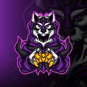 Das wüstenkatzen-gaming-maskottchen-logo des spielers