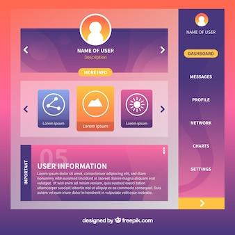 Dashboard admin panel vorlage mit flachem design
