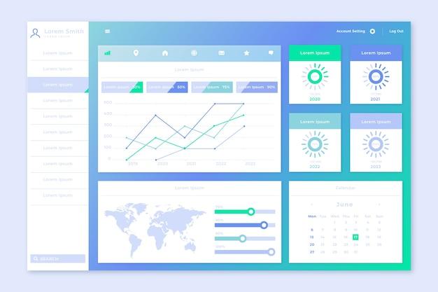 Dashboard-benutzeroberfläche infografik