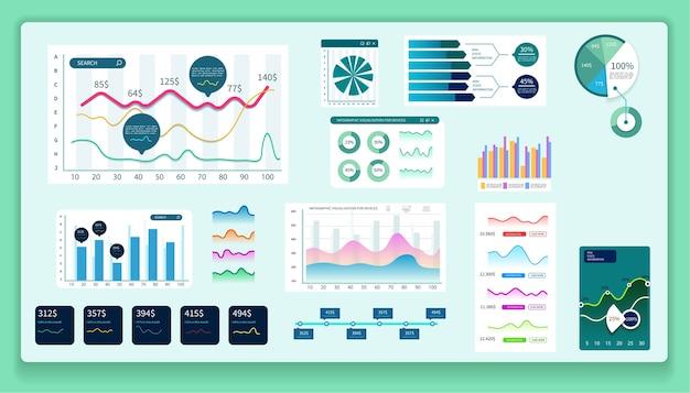 Dashboard-infografik. diagramme, analysen und andere elemente.