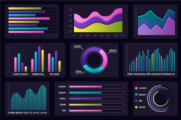 Dashboard infographik elementsatz