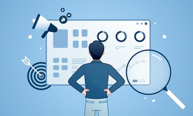 Dashboard-monitor zur optimierung der seo-analyse.
