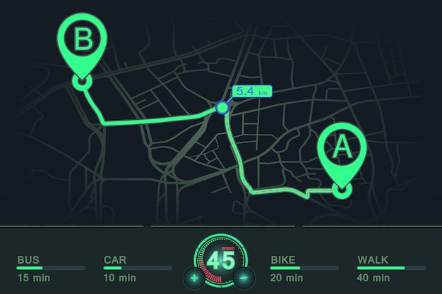 Dashboard-navigation gps-tracking punkt a bis punkt b