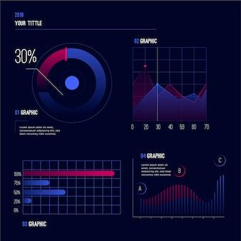 Dashboard-vorlage für farbverlaufselementsammlung