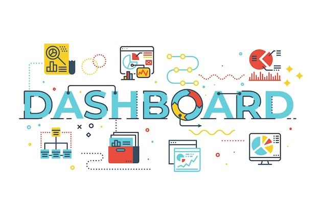 Dashboard-wortbeschriftungsillustration