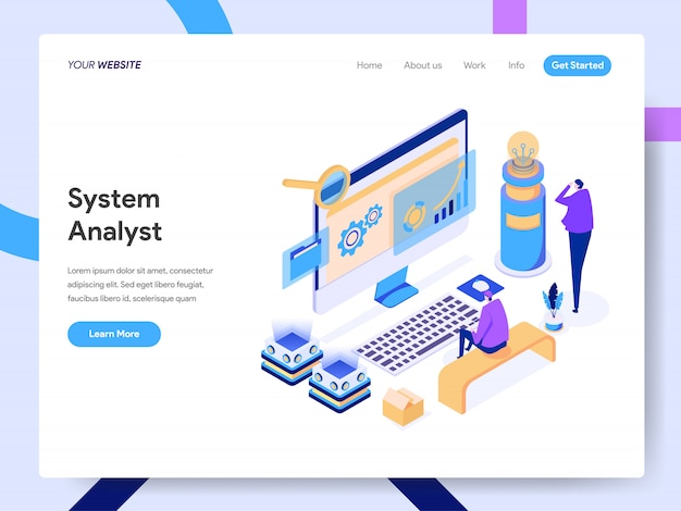 Data analyst isometric illustration für website-seite