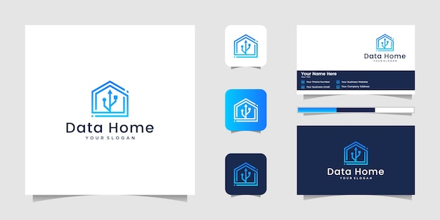 Data home, home-technologie mit usb-logo und visitenkarte