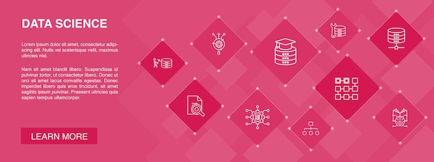 Data science banner 10 icons concept.machine learning, big data, database, classification simple icons