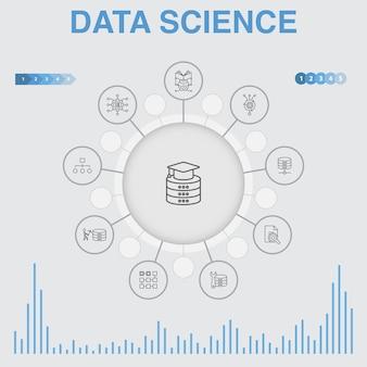 Data science-infografik mit symbolen. enthält symbole wie maschinelles lernen, big data, datenbank, klassifizierung
