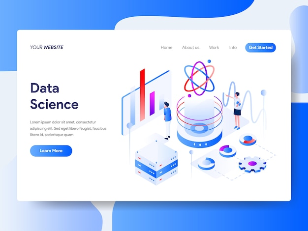 Data science isometric für website-seite
