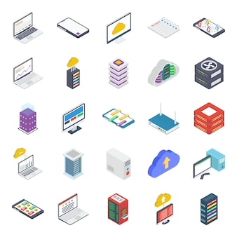 Data server isometric icons pack