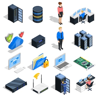 Datacenter elements icon set