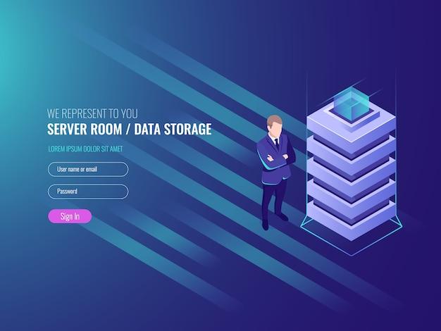 Datacenter-konzept, datenbanken und internet-informationssicherheit, systemadministration